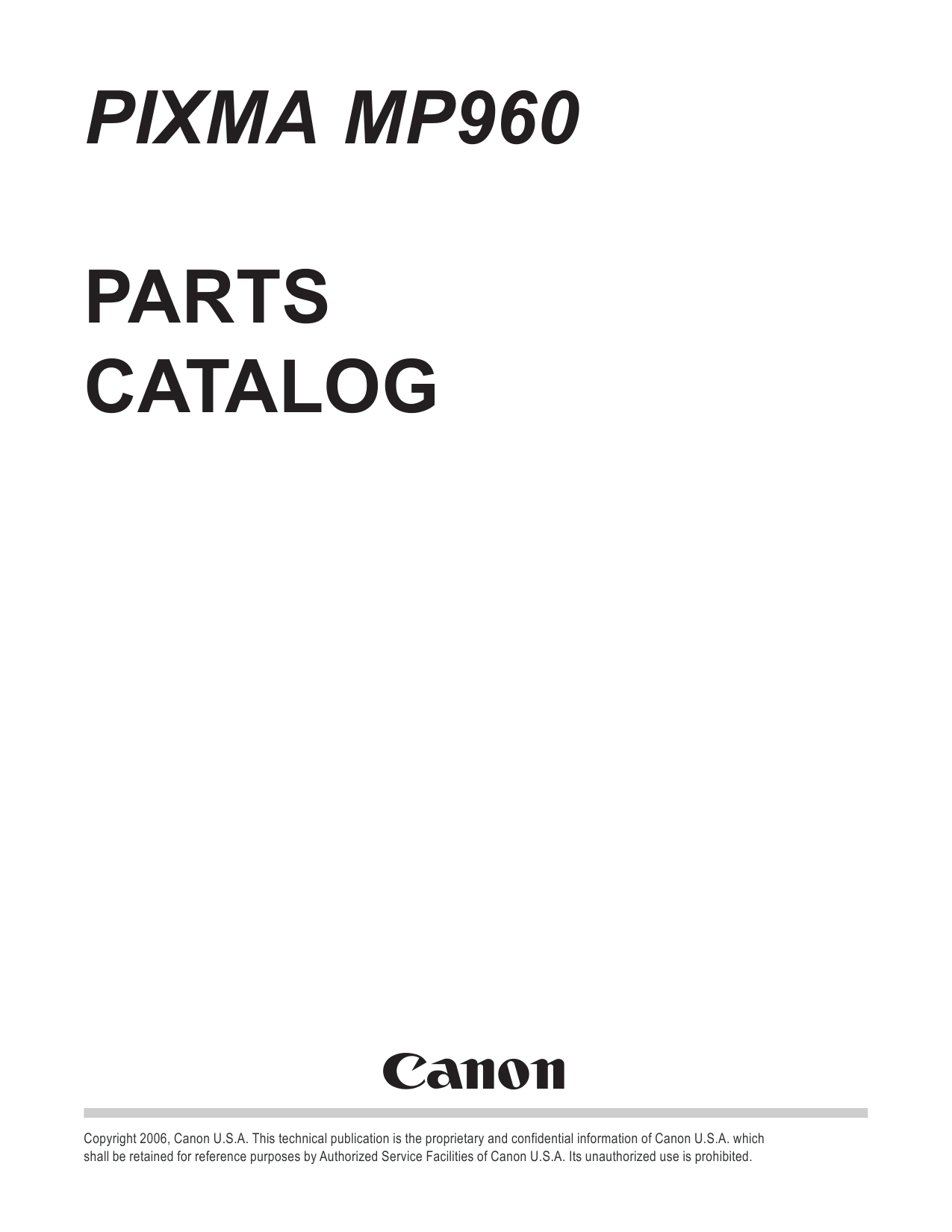 Canon PIXMA MP960 Parts Catalog